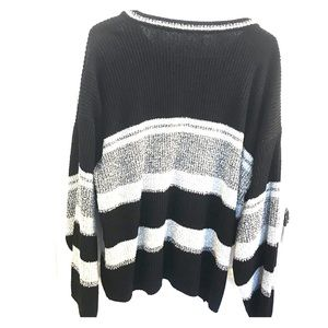 Sweaters - Plus size, 18W Black and White Striped Sweater